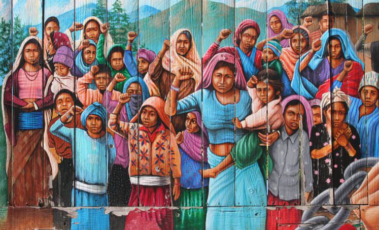 Protest in Nepal Painting by Dutch artist Martin Travers. Balmy Alley Murals, San Francisco. Frescoes of protest and revolución. Feb 201
